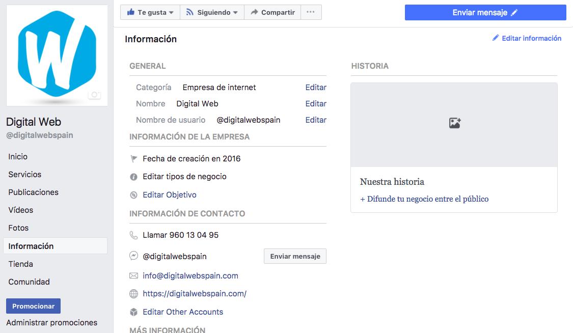Captura de pantalla con el aparado de Información de Facebook para poder cambiar el usuario